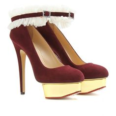 DOLLY PLATFORM PUMPS WITH RUFFLED ANKLETS seen @ www.mytheresa.com