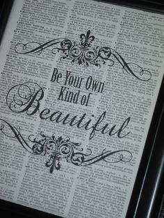 Dictionary Art Book Page Print Be Your Own by HamiltonHousePrints