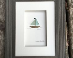 12 by 16 sea glass sail boats art by sharon nowlan by PebbleArt