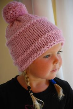 Girls Pale Pink Beanie Hand Knit Child's Hat Soft by AquaLumen, $29.00