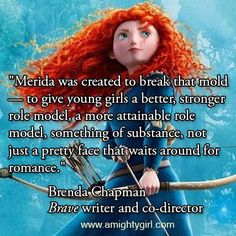 """Brenda Chapman - Writer and co-director In this article, Brenda was very unhappy with Merida's outcome in the Disney redesign. She points out that the whole point of #Merida was to step away from the typical girly princess and instead create a ""strong, independent woman who don't need no man"" for girls to look up to. ""  to throw in another wrench feministdisney.tumblr.com/  criticized brave's lack of POCs...  #brave"