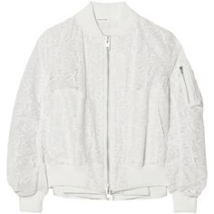 Sacai Embroidered cotton-lace bomber jacket ($680) ❤ liked on Polyvore featuring outerwear, jackets, coats & jackets, bomber jacket, ivory, flight jacket, white lace jacket, embroidered jacket and pocket jacket