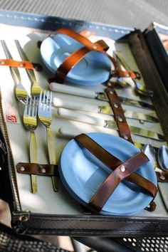 OPTIMA Blue Suitcase Picnic Basket Case with Full by TheGreyBanana