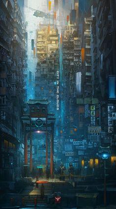 sci fi city / cyberpunk cityscape / Eastern urban / city lights / digital art