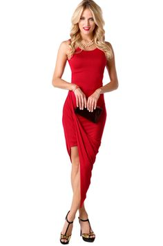 Scoop Back Draped Dress   ShopAKIRA.com   Web Exclusive   September Arrivals   Scoop Back Dress   Asymmetric dress   Red Draped Dress