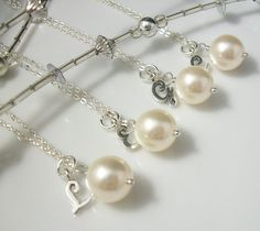 Custom Silver Pearl Necklace Bridesmaids Jewelry by LaBelleGem, $90.00