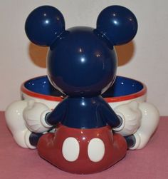 Disney-Mickey-Mouse-Ceramic-Chip-and-Dip-Bowl-Stars-Stripes-45066