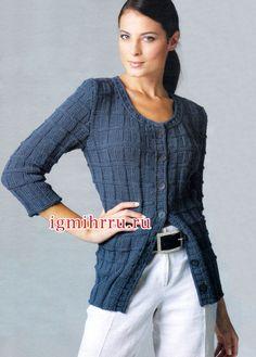 Темно-синий шерстяной жакет с карманами. Вязание спицами