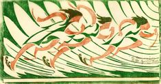 """Cyril Power, """"The Runners"""", Linocut"""