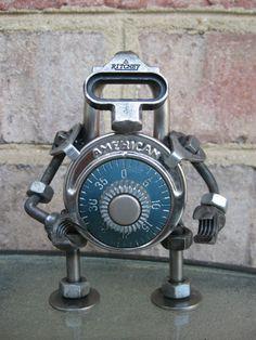 GeargoyleMetalArt - Ritchey The LockBot Recycled Metal Sculpture