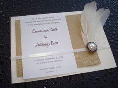 classic feathered cream and white wedding invitation by PaperVirgo