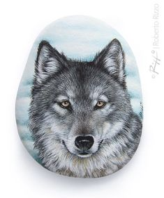 A Wild Wolf Painted On a Flat Sea Rock | Stone Art by Roberto Rizzo