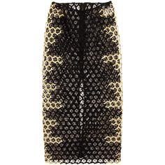Alexander McQueen Black/Gold Honeycomb Macramé Skirt (3,694,025 KRW) ❤ liked on Polyvore featuring skirts, bottoms, alexander mcqueen, pants, gold skirt, summer skirts, honey comb, alexander mcqueen skirt and geometric skirt