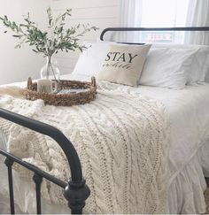 """174 Likes, 6 Comments - Kendra Farmer (@linenandivory) on Instagram: """"I can't imagine a MORE inviting guest room!! : @thelittlebrickfarmhouse // Stay Awhile pillow…"""""""