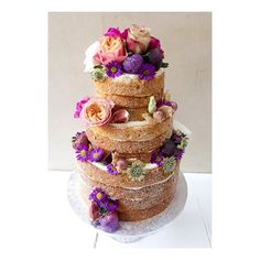 Naked cake in purple, pink and peach ☮ Lily Vanilli