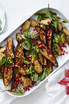 This quirky salad will be the talking point of your next meal. Think miso-glazed eggplants and caramelised brussels sprouts with a sprinkling of tangy pomegranate seeds and a subtle chilli kick. Miso Eggplant, Eggplant Salad, Christmas Roast, Roasted Sprouts, Healthy Food, Healthy Eating, Weekly Recipes, Roast Dinner, Eggplants