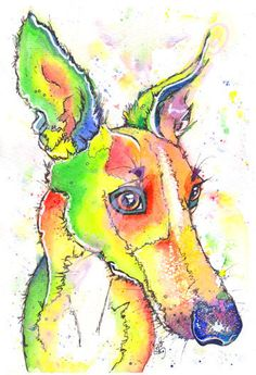 WHIPPET PRINT  Picture Lurcher Greyhound Dog Painting of