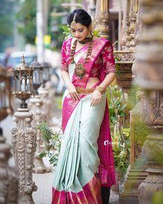 Indian Bridal Outfits, Indian Bridal Fashion, Indian Fashion Dresses, Saree Fashion, South Indian Wedding Saree, Wedding Saree Collection, Designer Blouse Patterns, Blouse Designs, Sari