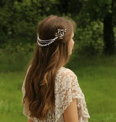 Babies Breath and Tatted lace Bridal Hair by BeautifulThingsByBec