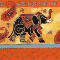 Indian Elephant Decorative Serviette Paper napkins for decoupage Indian Elephant, Elephant Love, Elephant Art, Elephant Quilt, Elephant Crafts, Elephant Pictures, Batik Art, Madhubani Art, Indian Folk Art