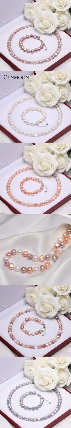Natural Freshwater Baroque Pearl Jewelry Sets AAAA Quality Pearl Necklace Bracelet  Jewelry for Women Mother Day Gift
