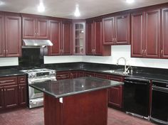 Kitchen Green Granite Dark Cherry Cabinets (JPEG Image