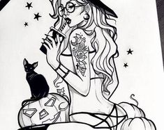 Anna Marine's Wonderland by AnnaMarine on Etsy Dark Art Tattoo, Body Art Tattoos, Cool Art Drawings, Art Sketches, Witch Drawing, Gothic Fantasy Art, Witch Tattoo, Satanic Art, Amy Brown