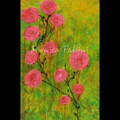 "Pink Roses original painting textured 24"" x 36"" modern art by Monica Fallini #Expressionism"
