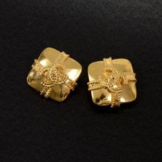 Vintage Chanel Gold Tone Square Earrings CC