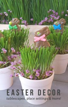 EASTER TABLESCAPES | I started with a set of these light colored ceramic mini flower pots and a dozen chocolate flavored bunny lollypops. These little flower pots are the perfect size and can be used in so many different ways too!