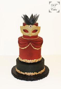 Venetian Carnival Collaboration - cake by Djamila Tahar (DT Cakes) Floral Wedding Cakes, Themed Wedding Cakes, Elegant Wedding Cakes, Elegant Cakes, Beautiful Wedding Cakes, Themed Cakes, Themed Weddings, Diy Wedding, Wedding Flowers