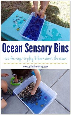 Two different ocean sensory bins for learning about the ocean - one made with water and one made from gelatin.