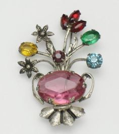 CORO-STERLING-Flower-Basket-Brooch-Pin-Glass-Crystal-Vintage-1940s