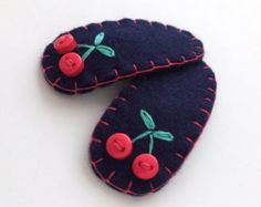 Baby Hair Clips, Cherry Hair Clip for Baby Girls and Infants, Toddler Hair Accessory, Fruit Hair Clip, Baby Hairpin, Felt Hair Clip