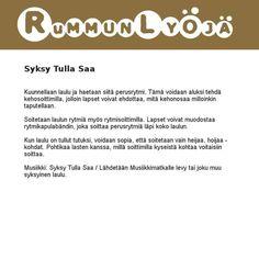 Tekijä: Marika Luokkala Music, Musica, Musik, Muziek, Music Activities, Songs