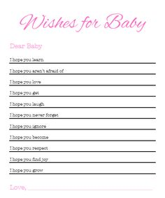 Wishes For Baby -I Know they said no games but this is sweet, and not really a game... a memory really