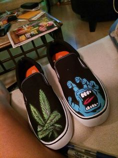 Thrasher painted shoes, weed painted shoes