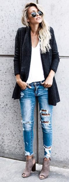 #fall #outfits women's black cardigan, white inner shirt, distressed blue jeans, and gray chunky heels outfit
