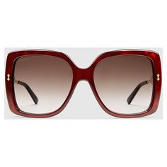 Gucci Oversize Square-Frame Acetate Sunglasses (€365) ❤ liked on Polyvore featuring accessories, eyewear, sunglasses, acetate sunglasses, engraved glasses, brown oversized sunglasses, red glasses and gucci eyewear