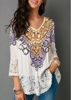 Are you searching for a Lace Patchwork Three Quarter Sleeve White Blouse? Are you excited to wear Lace Women's Top? Here is the Lace Blouse that you are looking for Plus Size Blouses, Plus Size Tops, Mode Outfits, Fashion Outfits, Womens Fashion, Ladies Fashion, Fashion Purses, Fashion Clothes, Casual Outfits
