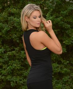 Black Side Ruched Tank Top