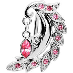 Top Drop Pink Cubic Zirconia Moon Belly Ring Body Candy. $11.99
