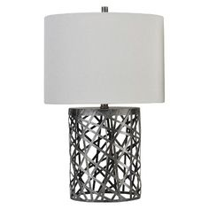 Found it at wayfair eva double gourd table lamp in white set of threshold woven wire table lamp with oval shade includes cfl bulb greentooth Images