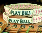 PLAY BALL PINK - Softball Bracelet - Pink Seams Baseball - Pink Seam Softball Bracelet - Baseball Mom - Baseball Bride - Baseball Party. $5.99, via Etsy.