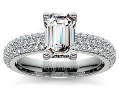 Emerald Pave Diamond Engagement Ring in Platinum http://www.brilliance.com/engagement-rings/pave-diamond-ring-platinum