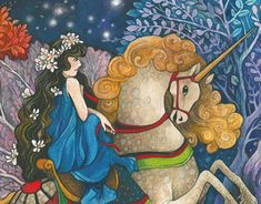 Girl with unicorn Working On Myself, My Works, New Work, Colored Pencils, Appreciation, Disney Characters, Fictional Characters, Unicorn, Behance