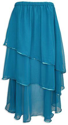 Sheer Layered Sequined Circle Skirt Turquoise - At DancingRahana.com