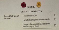 One-Of-A-Kind Wedding Invite Lets Guests Be Brutally Honest