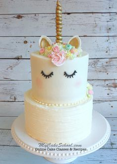 Learn how to make a sweet, buttercream frosted Unicorn Cake in this My Cake School cake decorating video tutorial!
