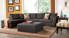 Cindy Crawford Home Calvin Heights XL Slate 2 Pc Sectional  from  Furniture